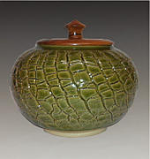 Crackle jar with turned wood (Goncalo Alve) cover.